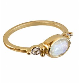 Bo Gold Ring - Gold - Moonstone - Diamond