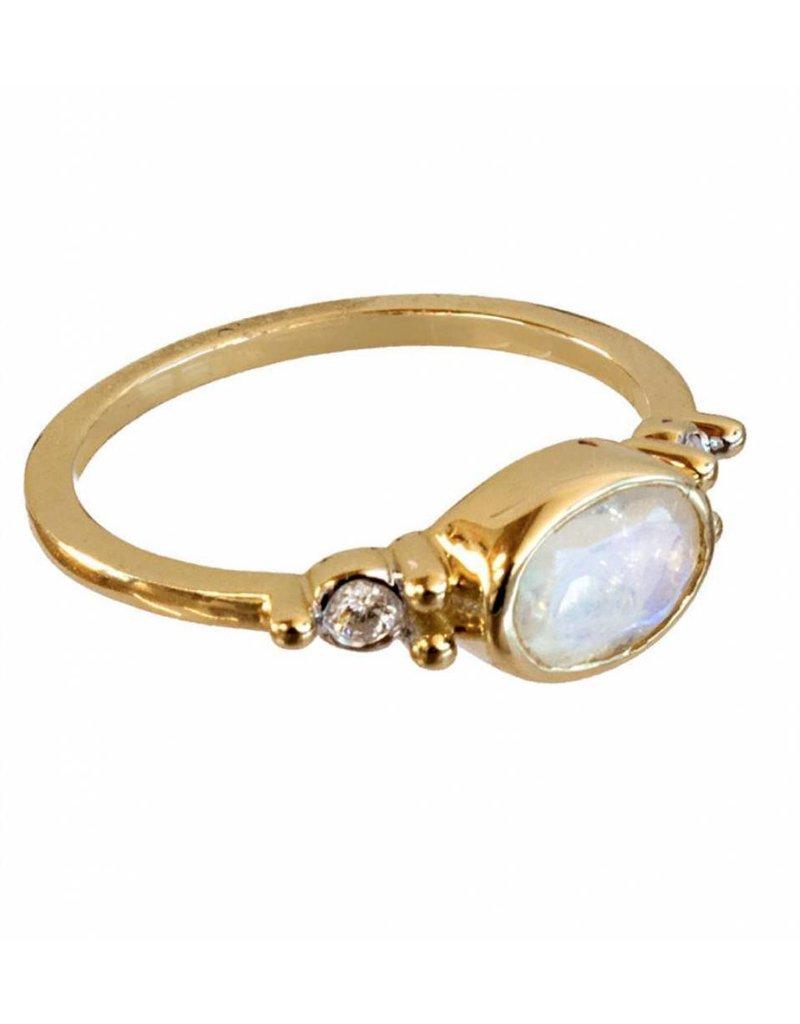 Bo Gold Ring - Goud + Maansteen - Diamant