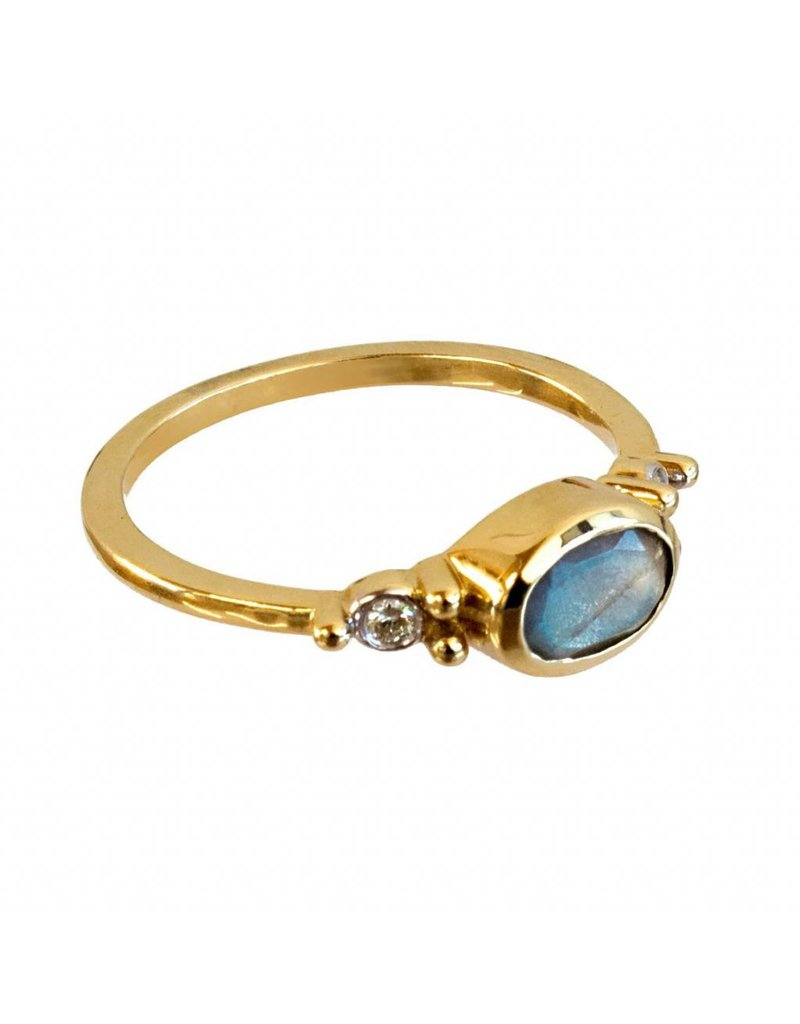 Bo Gold Ring - Goud + Labradoriet - Diamant