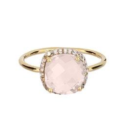 Bo Gold Ring - Gold + rose quartz