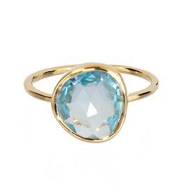 Bo Gold Ring - Goud + blauw topaas