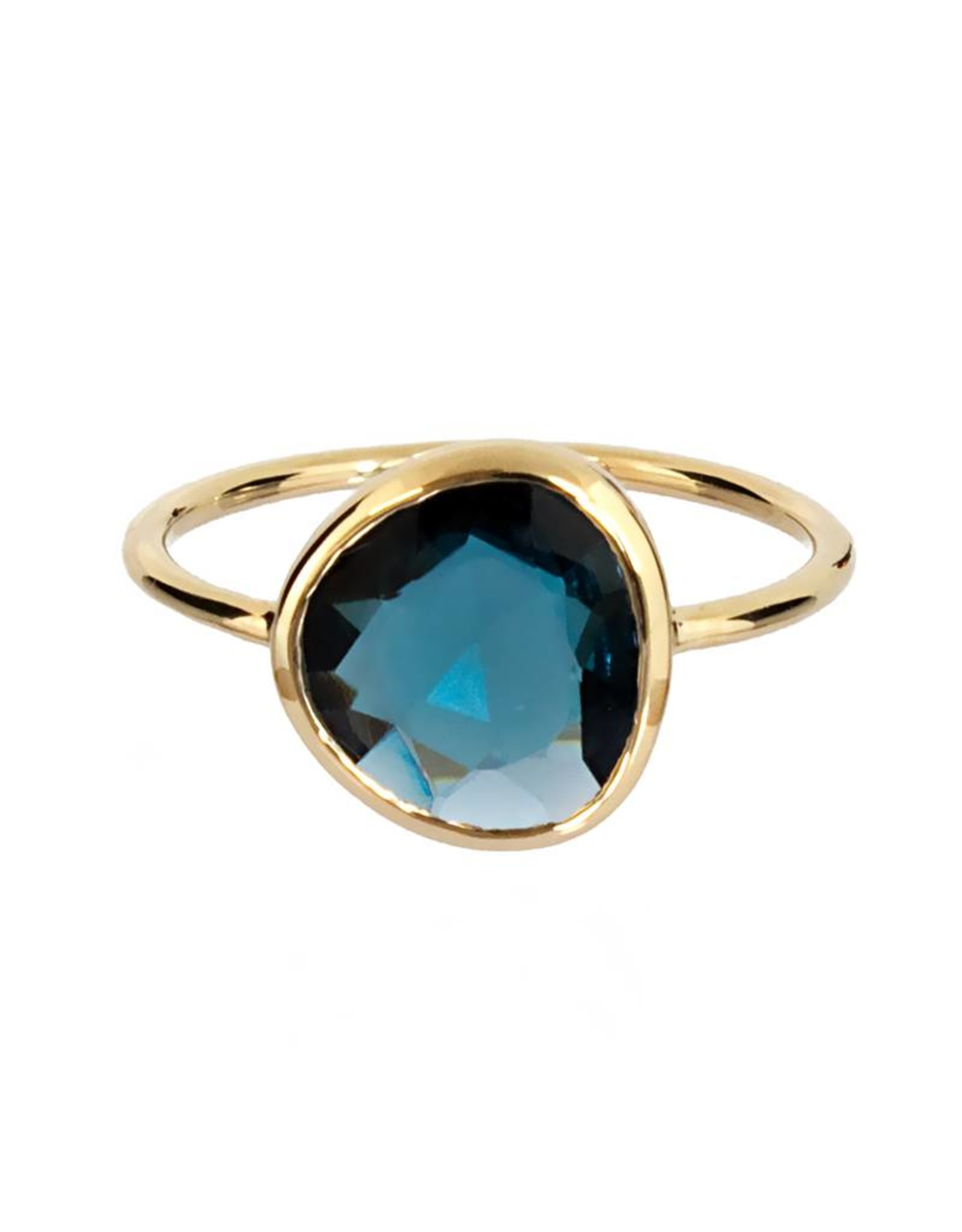 Bo Gold Ring - Goud - London blauw topaas