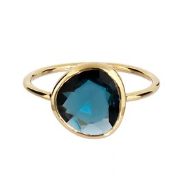 Bo Gold Ring - Goud + London blauw topaas
