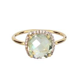 Bo Gold Ring - Gold + green amethyst