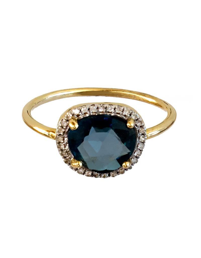 Bo Gold Ring - Goud - London blauw topaas - Diamantjes