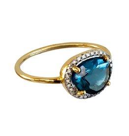 Bo Gold Ring - Gold - London blue Topaas - Diamonds