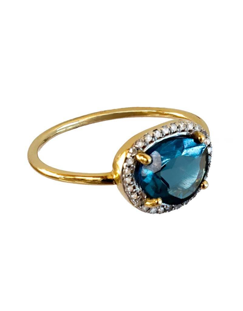 Bo Gold Ring - Goud - London blue Topaas - Diamantjes