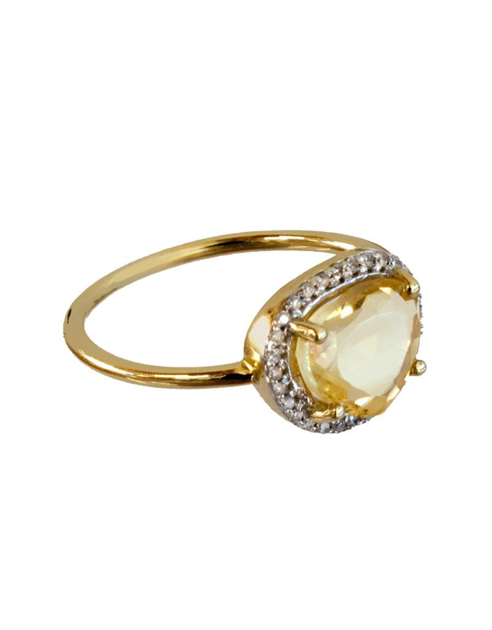 Bo Gold Ring - Goud - Citrien - Diamantjes