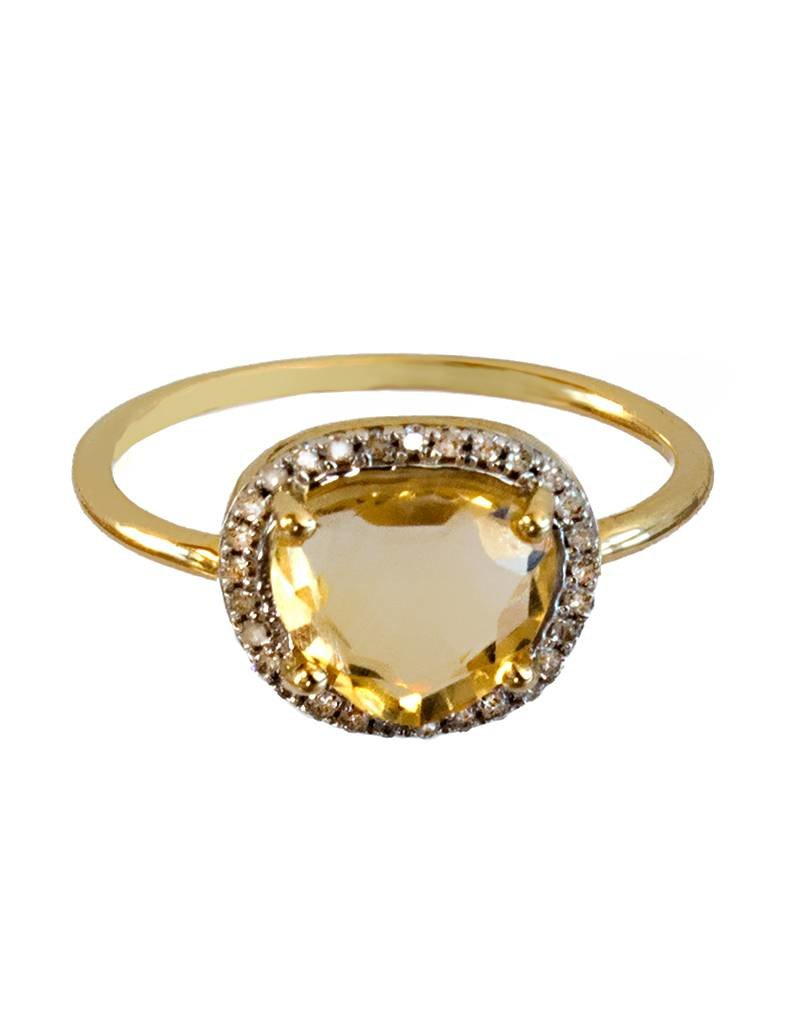 Bo Gold Ring - Goud - Citrien - Diamantjes