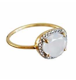 Bo Gold Ring - Goud - Naturel calcedoon - Diamantjes