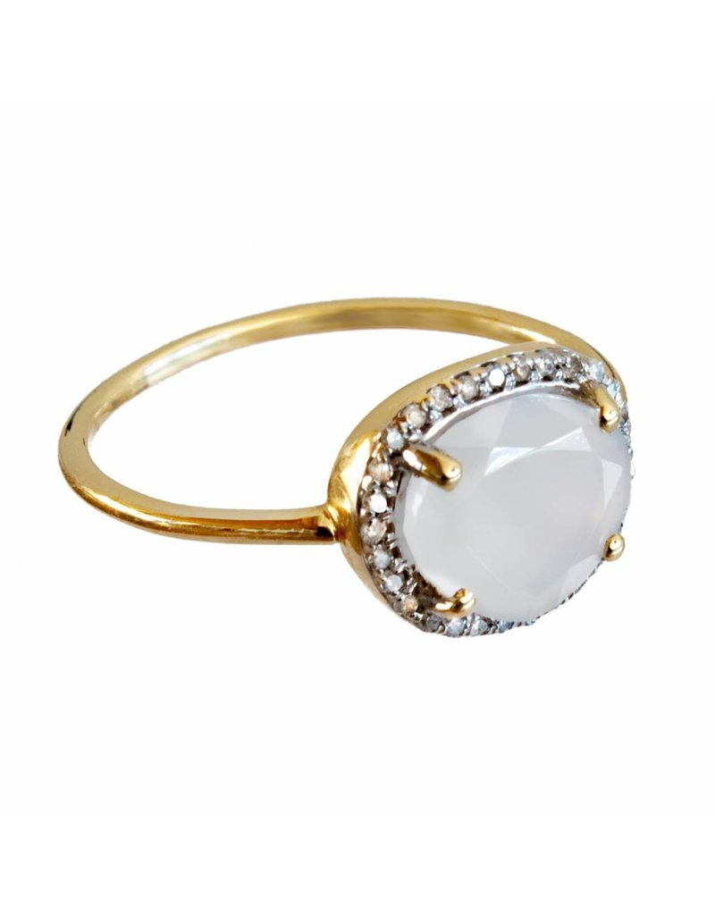 Bo Gold Ring - Goud - Naturel calcedoon - Diamantjes