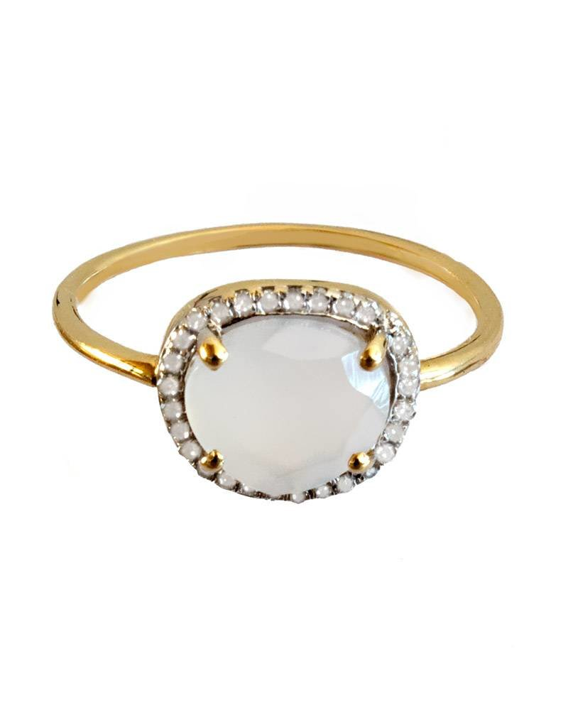 Bo Gold Ring - Gold - Natural calcedony - Diamonds