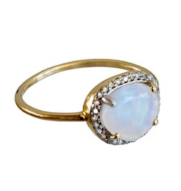 Bo Gold Ring - Gold - Moonstone - Diamonds
