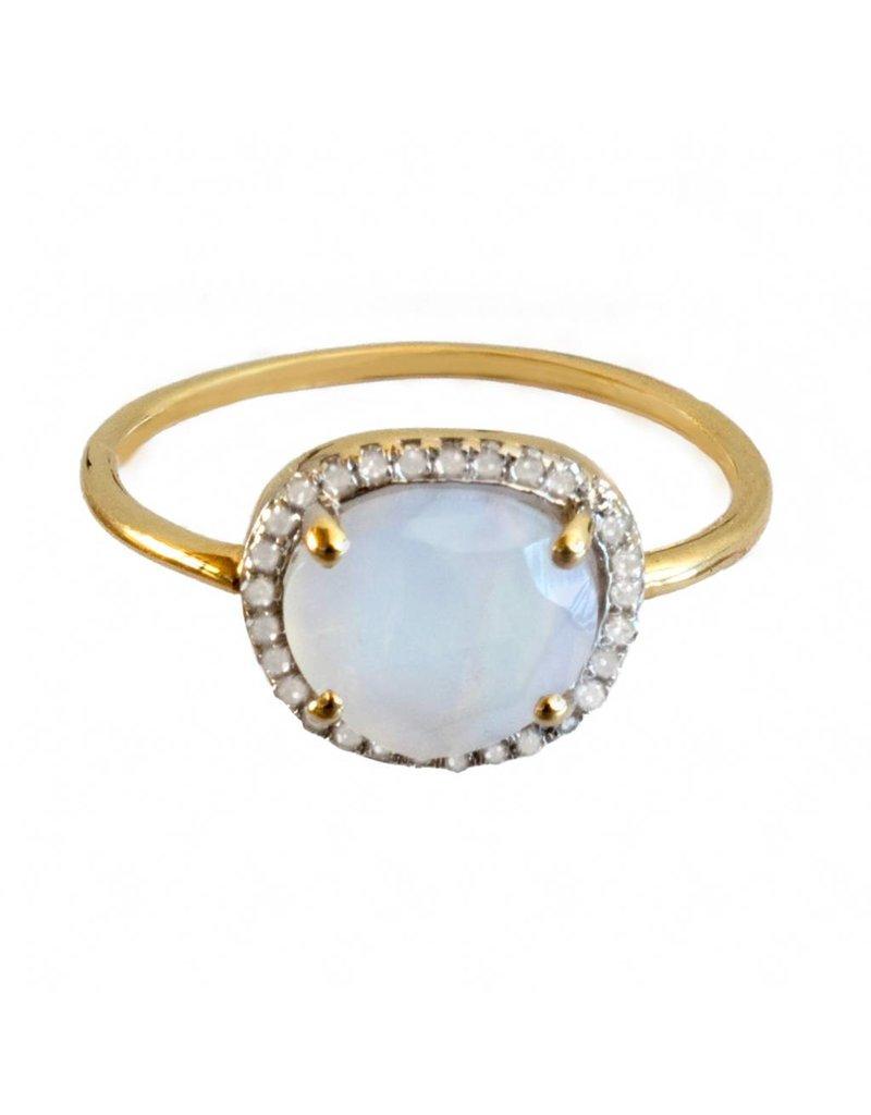 Bo Gold Ring - Goud - Maansteen - Diamantjes