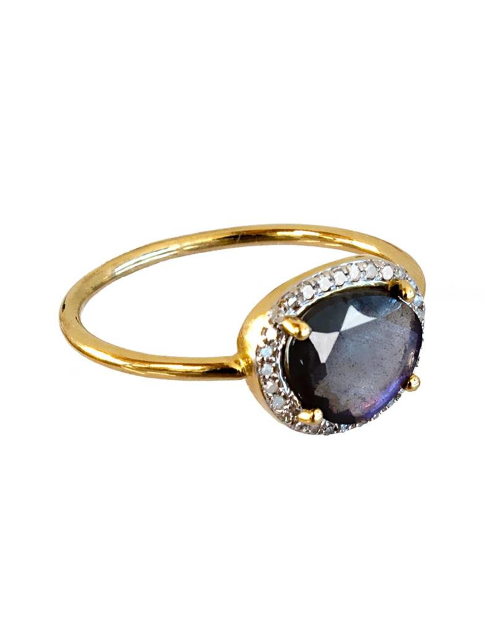 Bo Gold Ring - Gold - Labradorite - Diamonds