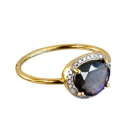 Bo Gold Ring - Gold - Labradorite - Diamonds