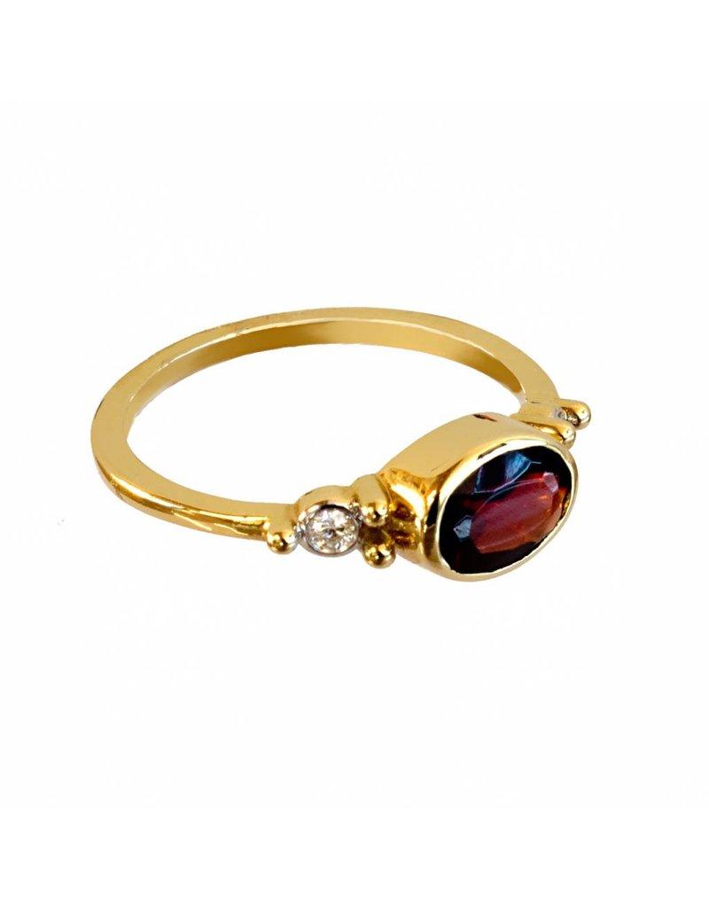 Bo Gold Ring - Goud + Hessoniet Granaat - Diamant