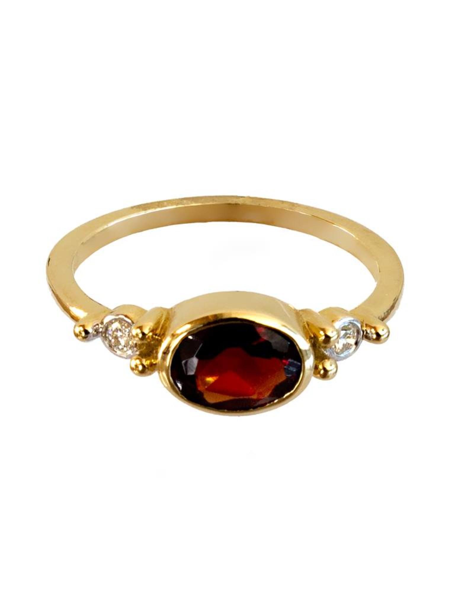 Bo Gold Ring - Goud - Hessoniet Granaat - Diamant