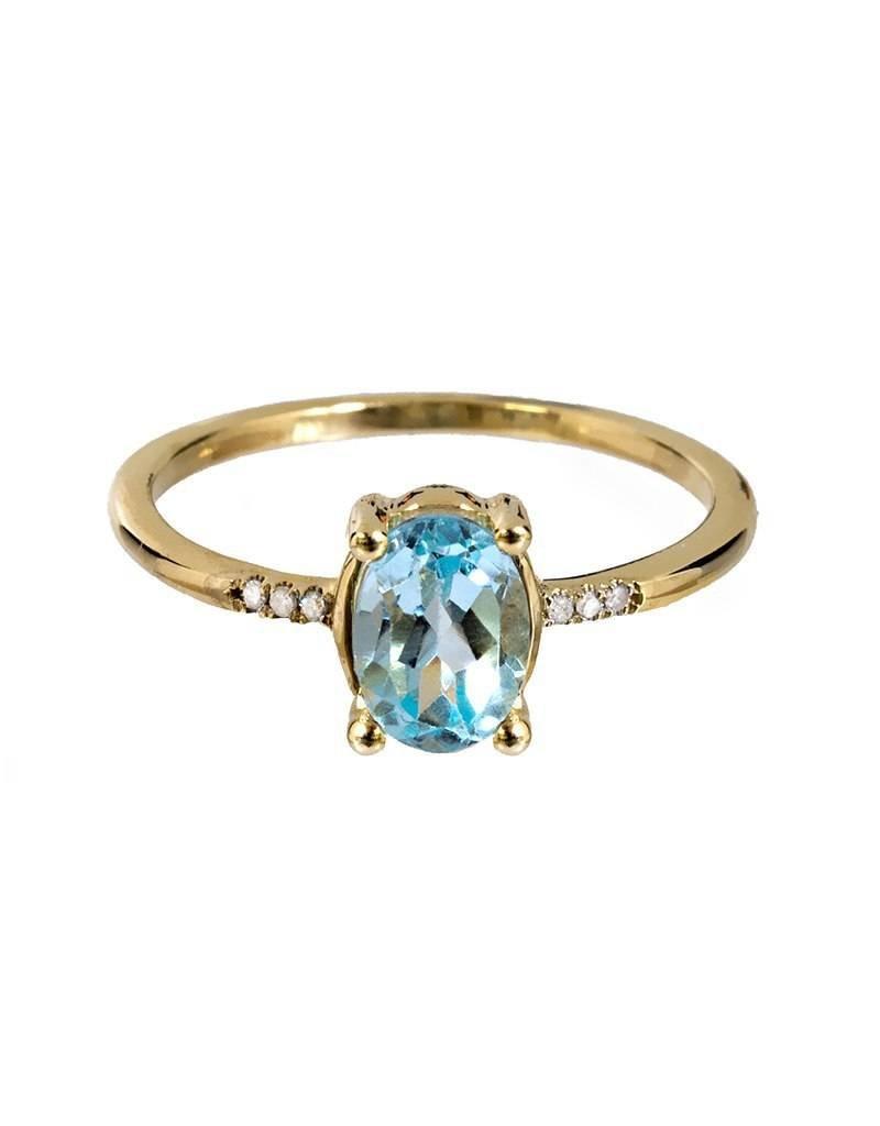 Bo Gold Ring - gold - blauw topaas