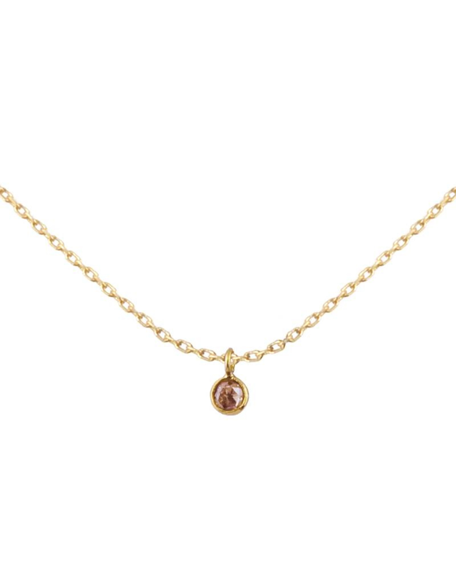 Bo Gold Ketting - Goud - Champagne diamant