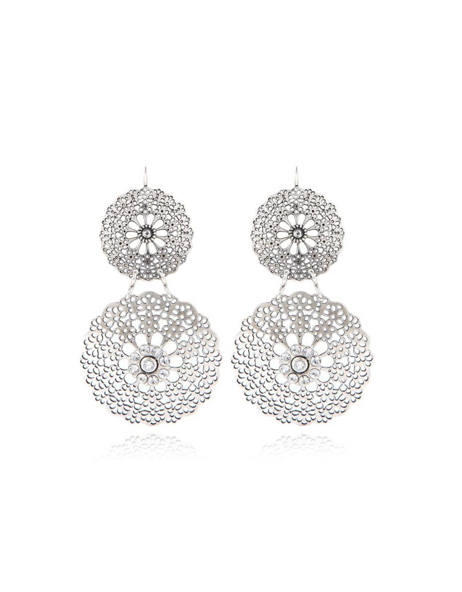 GAS Bijoux Earrings Flocon Double Silver PLated