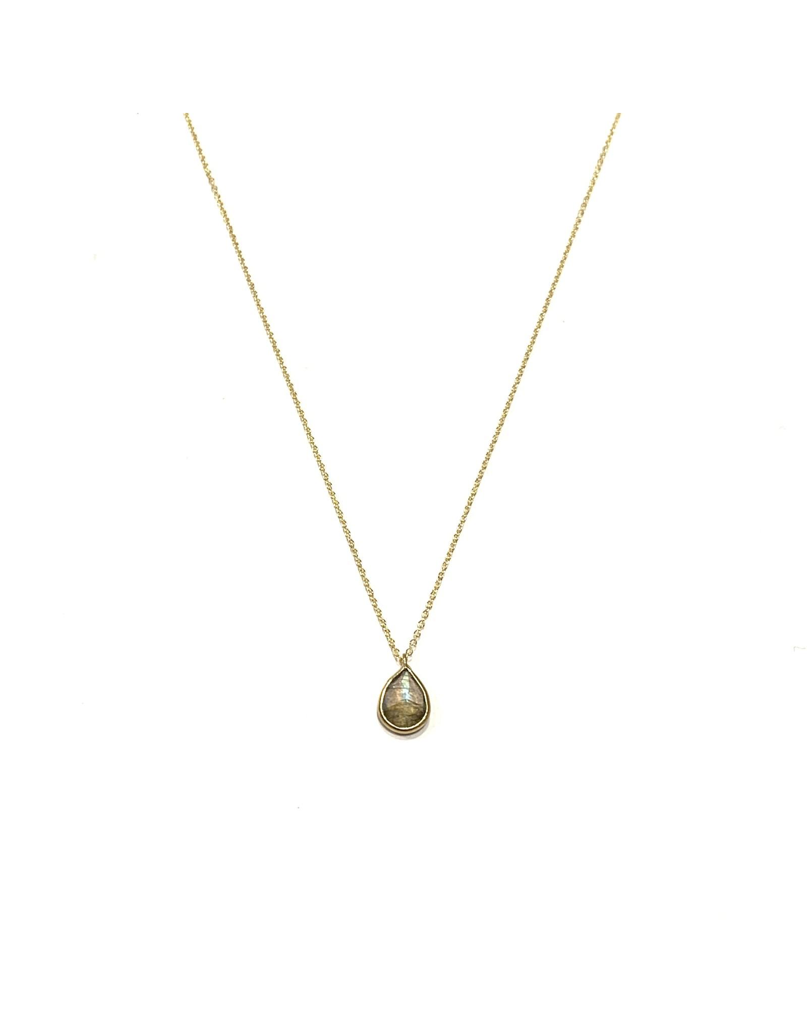 Bo Gold Necklace - Gold - Labradorite