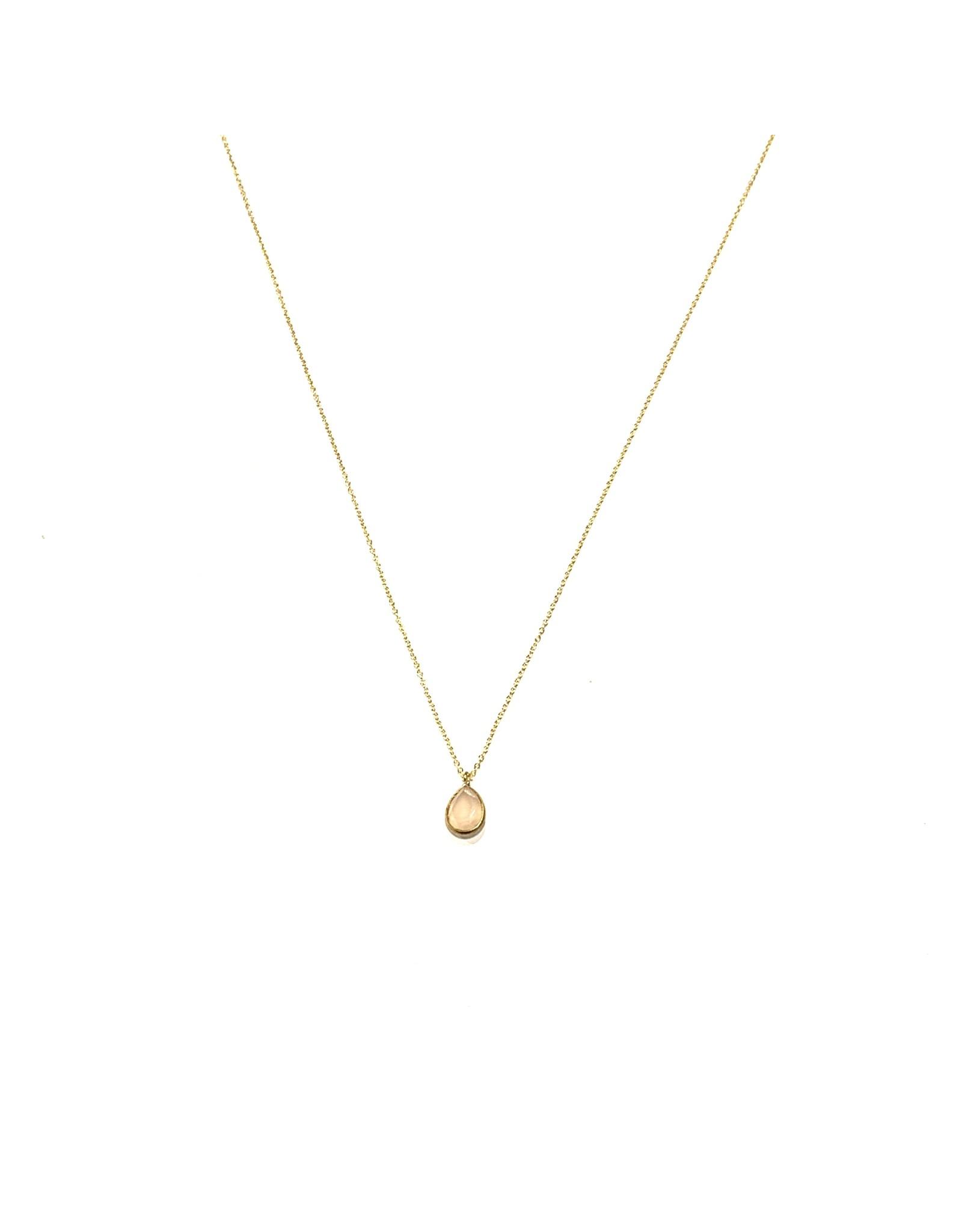 Bo Gold Necklace - Gold - Rose quartz