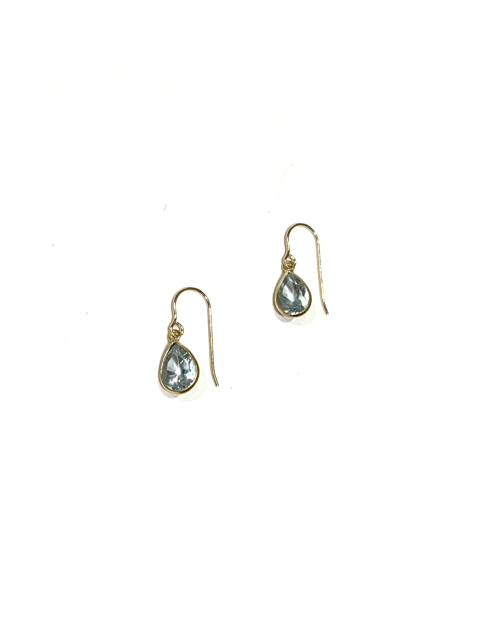 Bo Gold Earrings - Gold - Blue Topaz