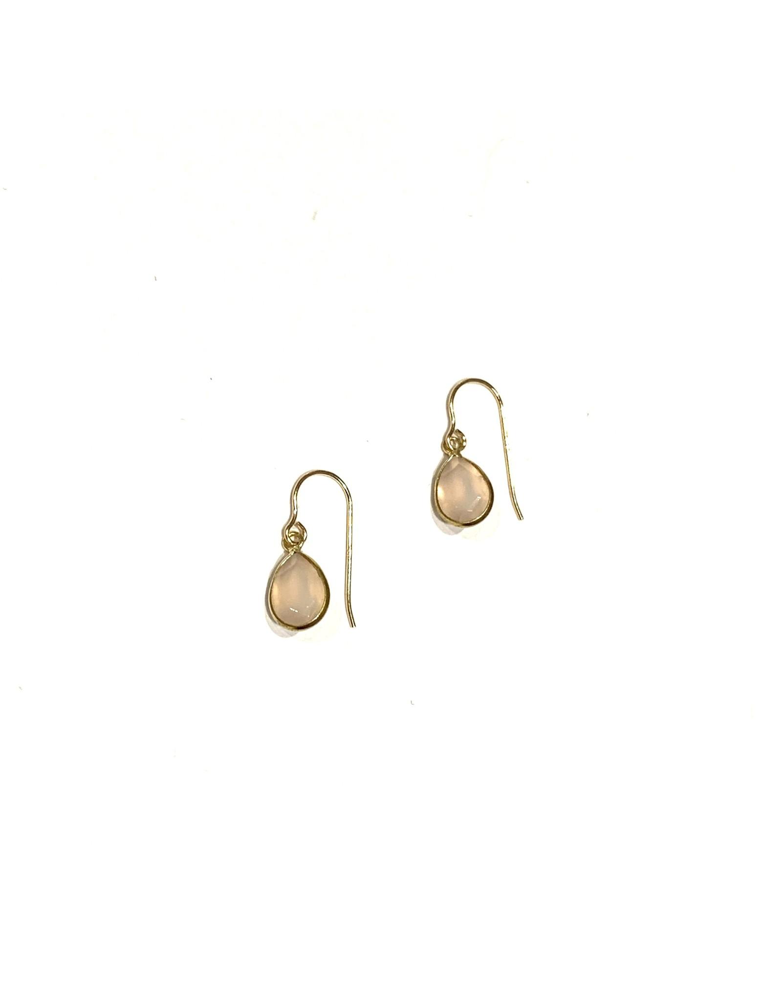 Bo Gold Earrings - Gold - Rose quartz