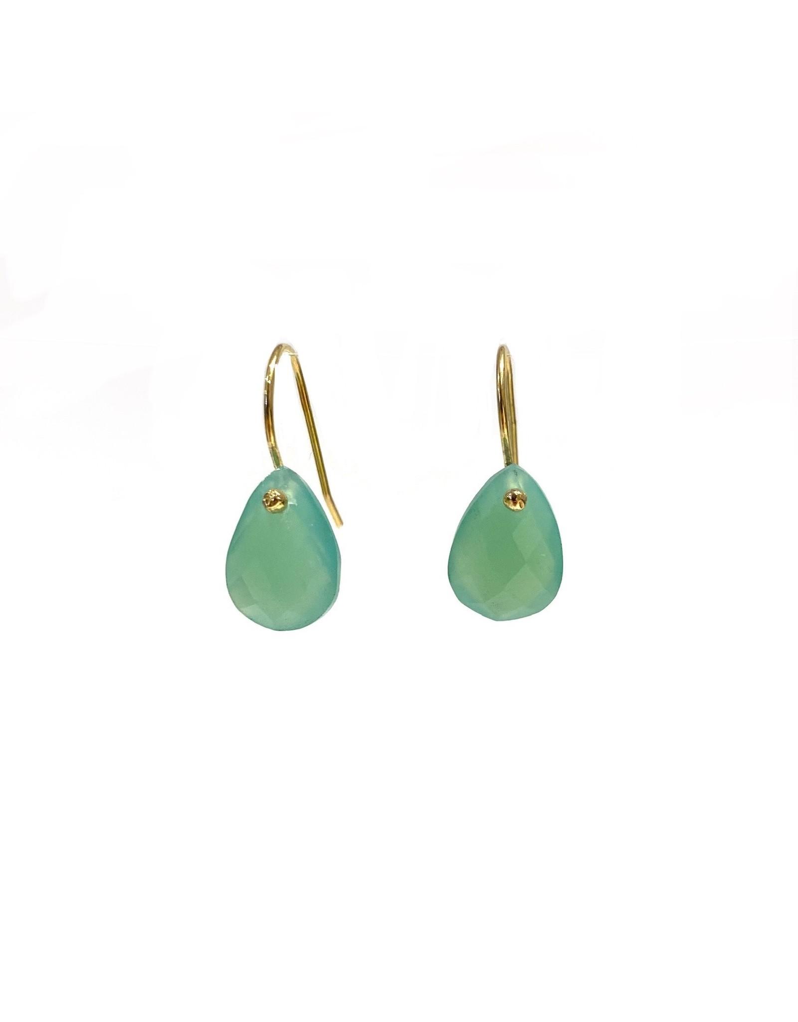 Bo Gold Earrings - Gold - Chalcedony