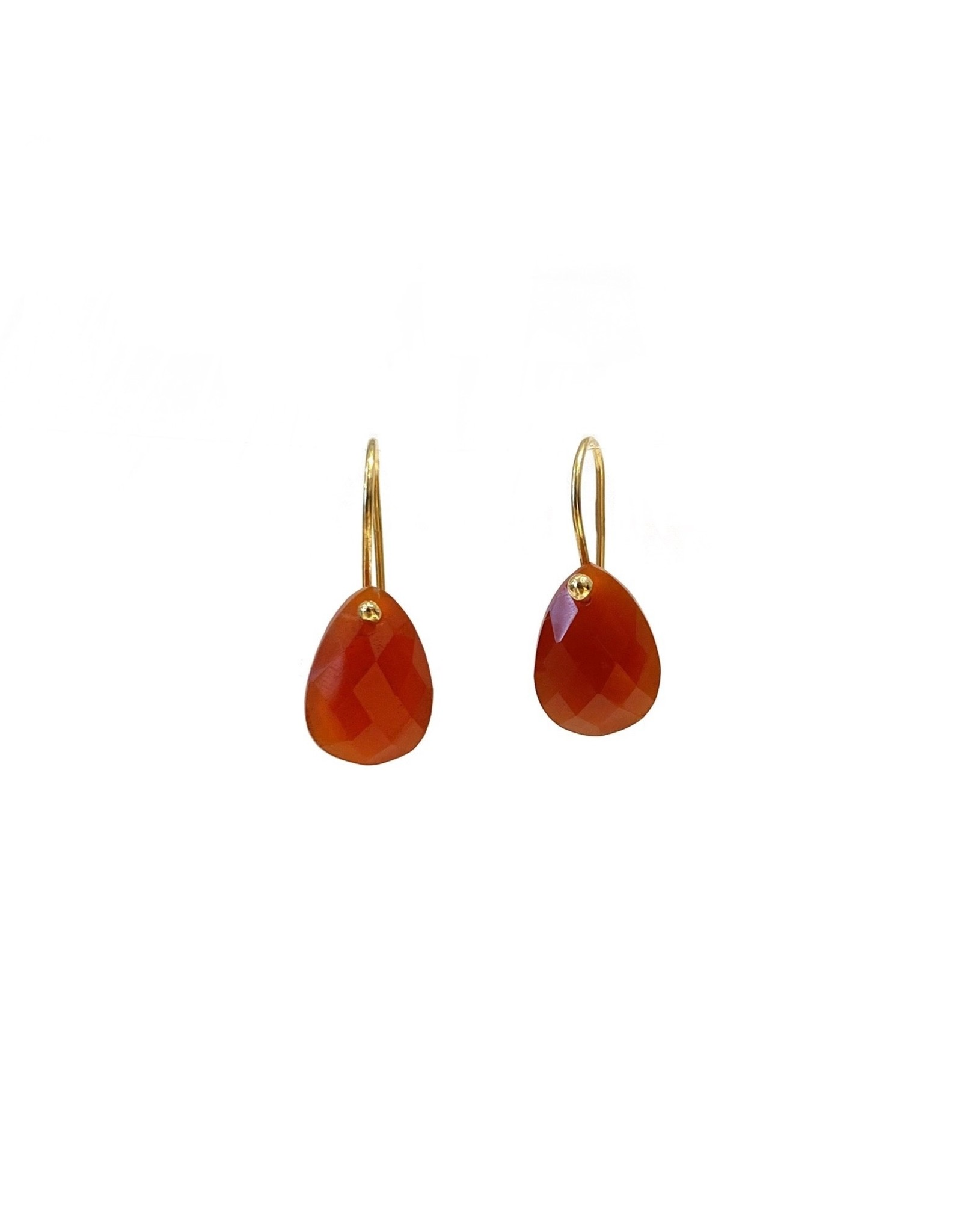Bo Gold Earrings - Gold - Carnelian