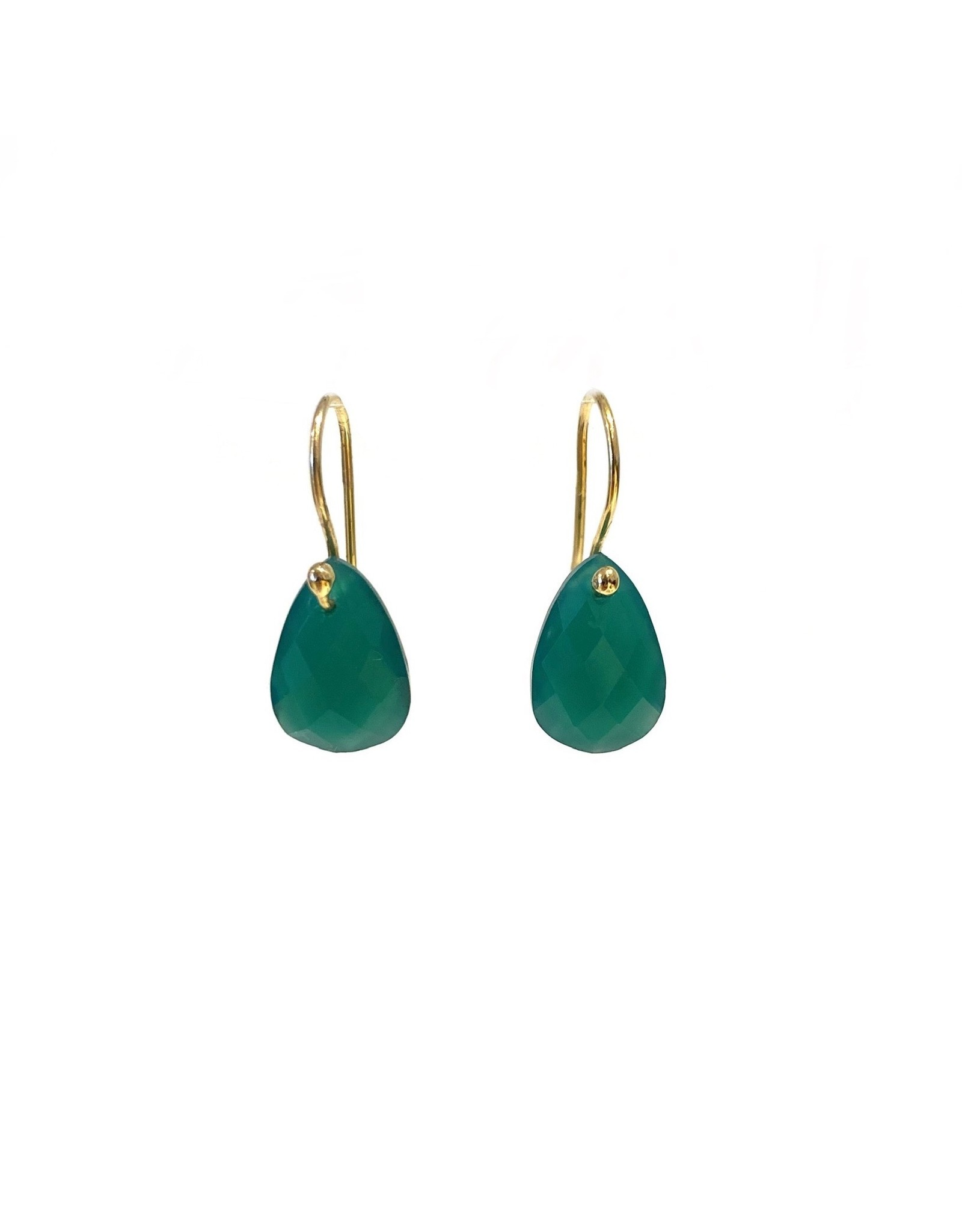 Bo Gold Earrings - Gold - Green Onyx