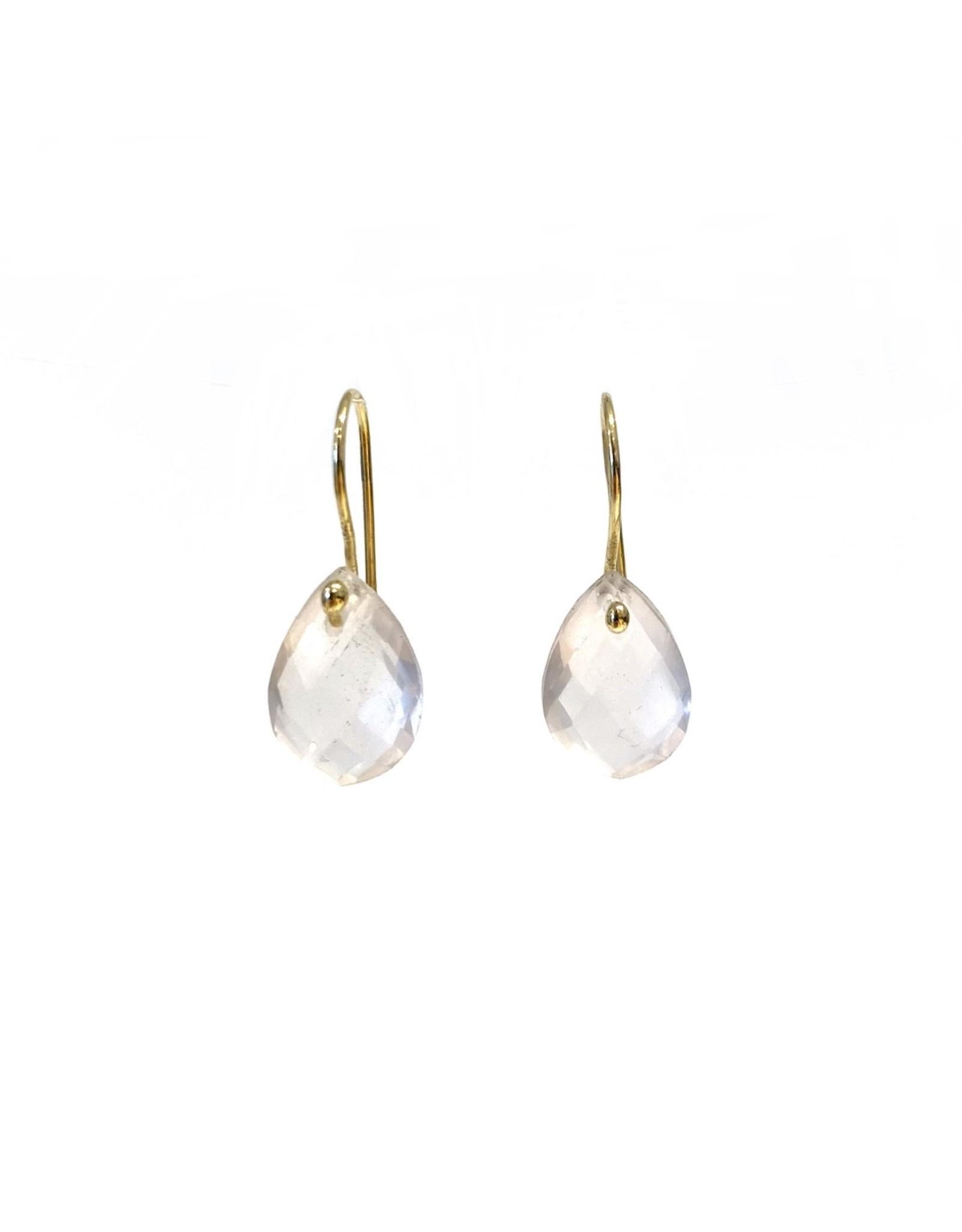 Bo Gold Earrings - Gold - Pink Quartz