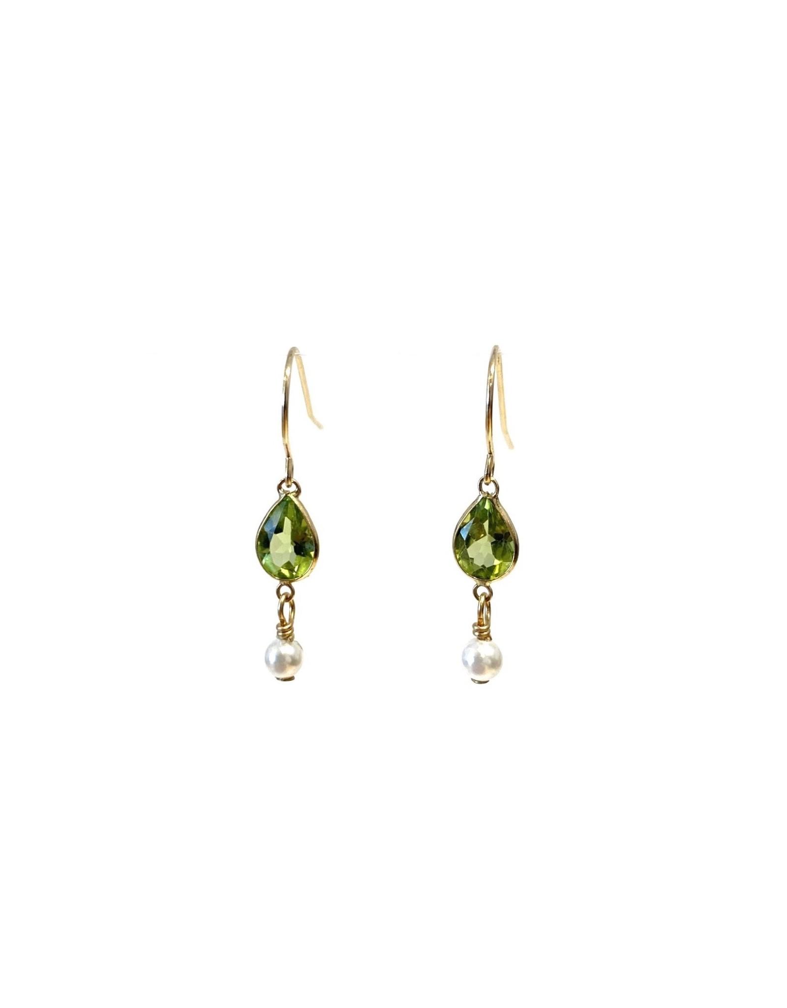 Bo Gold Earrings - Gold - Peridot