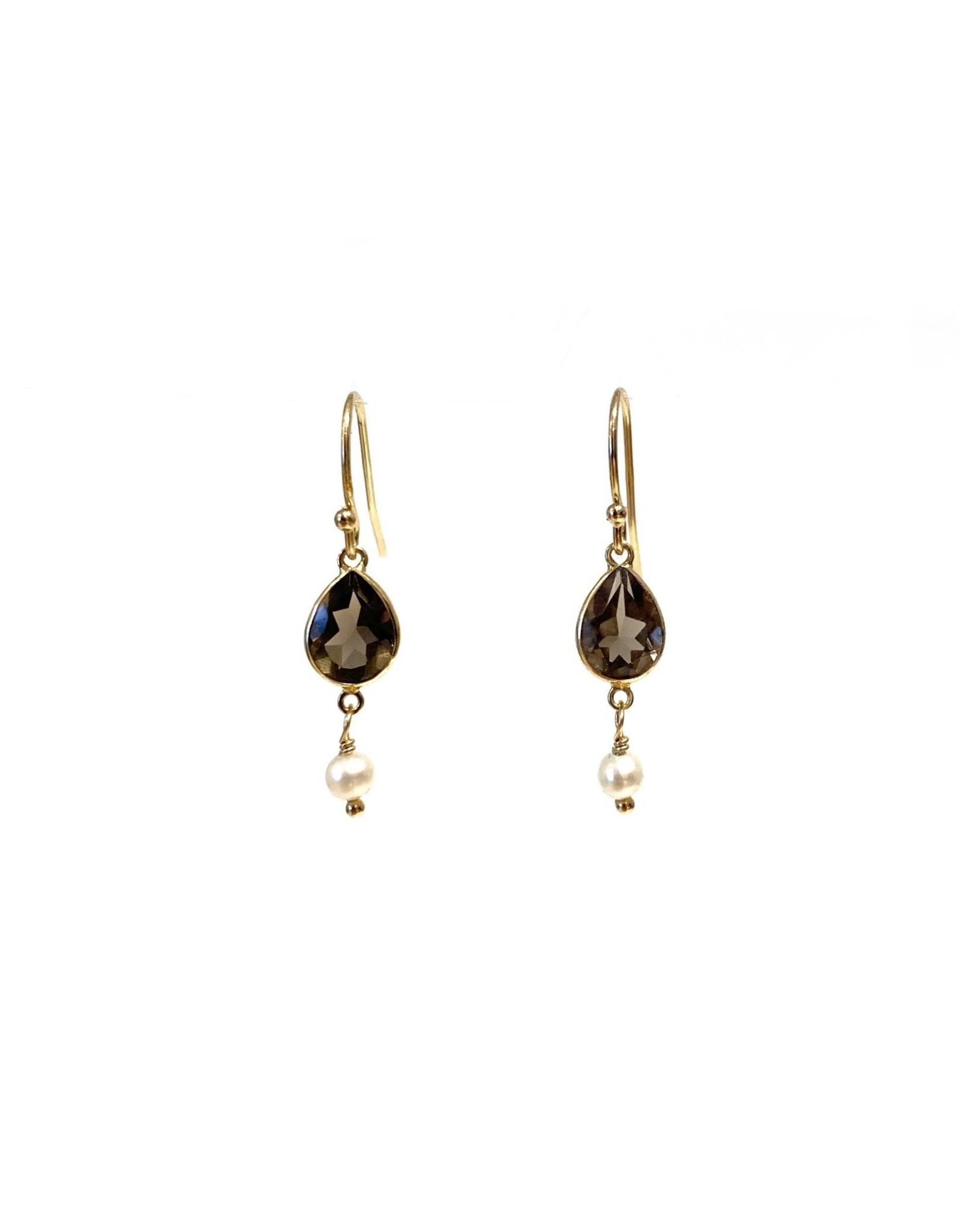 Bo Gold Earrings - Gold - Smokey Quartz