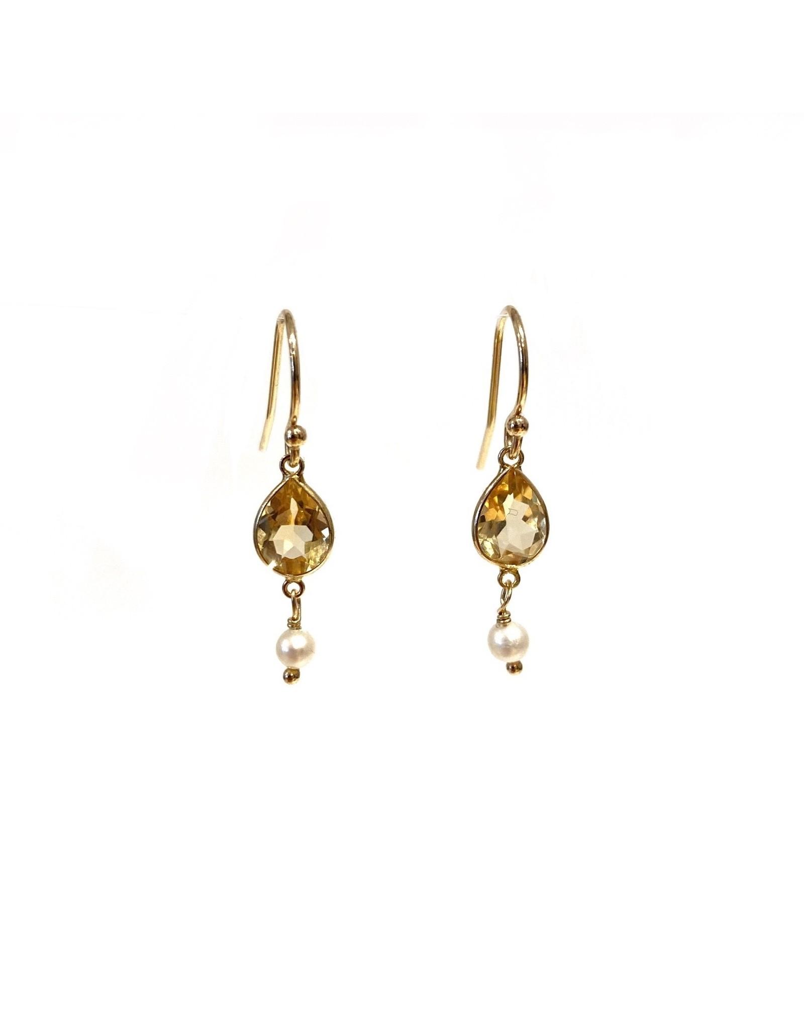 Bo Gold Earrings - Gold - Citrin