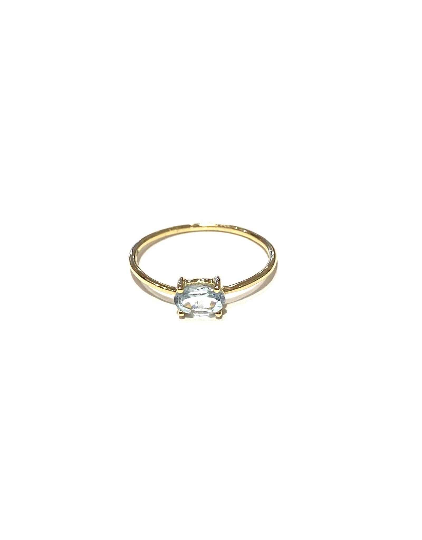 Bo Gold Ring - Goud - Blauw Topaas