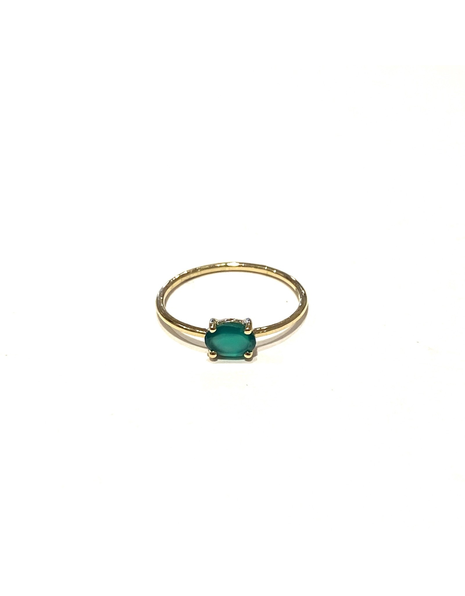 Bo Gold Ring - Goud - Groene Onyx