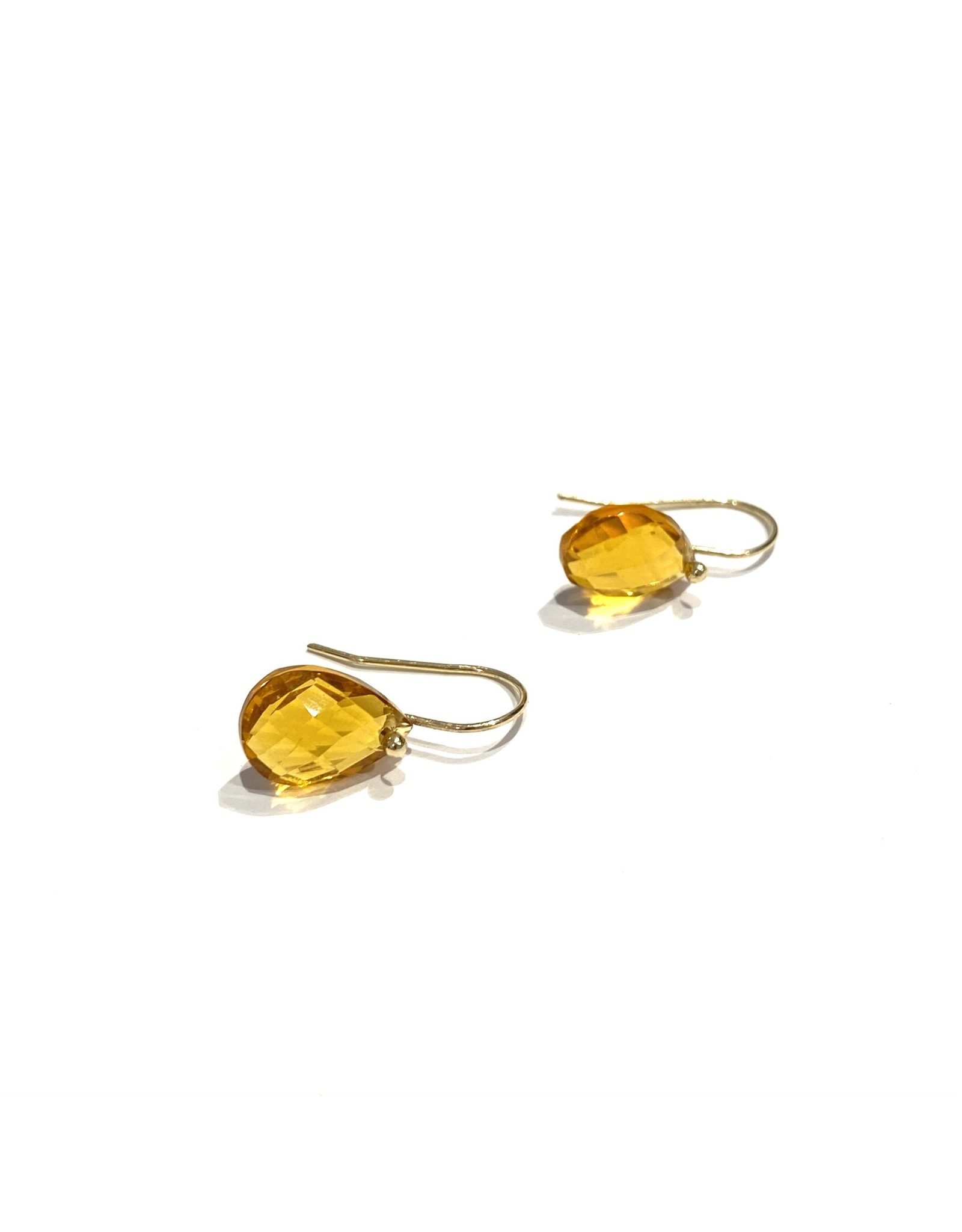 Bo Gold Earrings - Gold - Citrin
