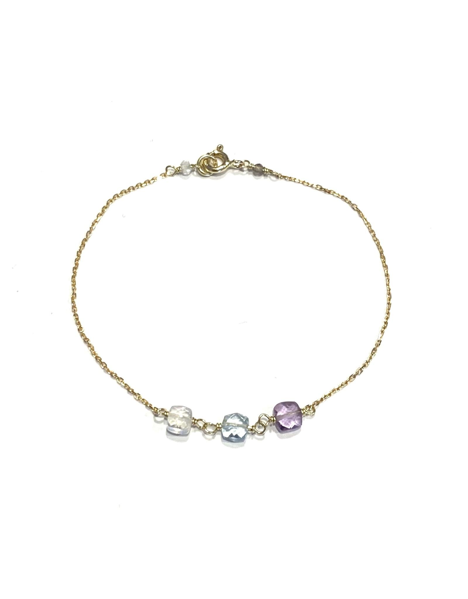 Bo Gold Bracelet - Gold - Chalcedony - Gemstone