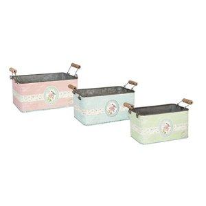 Clayre & Eef Set van 3 blikladen met rozendecor