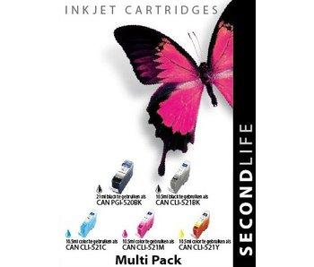 SecondLife Multipack Canon 520 Black & 521 Serie