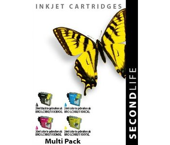 SecondLife Multipack Brother 980/1100 BK, C, M en Y