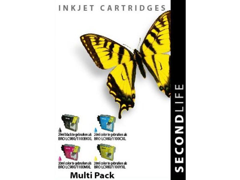 SecondLife Multipack Brother 980/1100 BK, C, M en Y