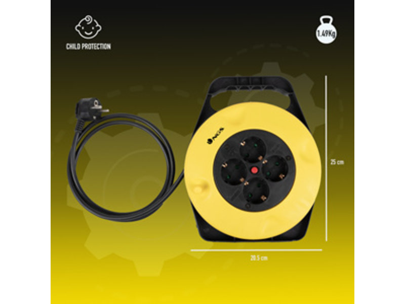 NGS NGS GRID ROUND 10M CABLE REEL 4 SOCKETS WITH TERMAL CUT-OUT
