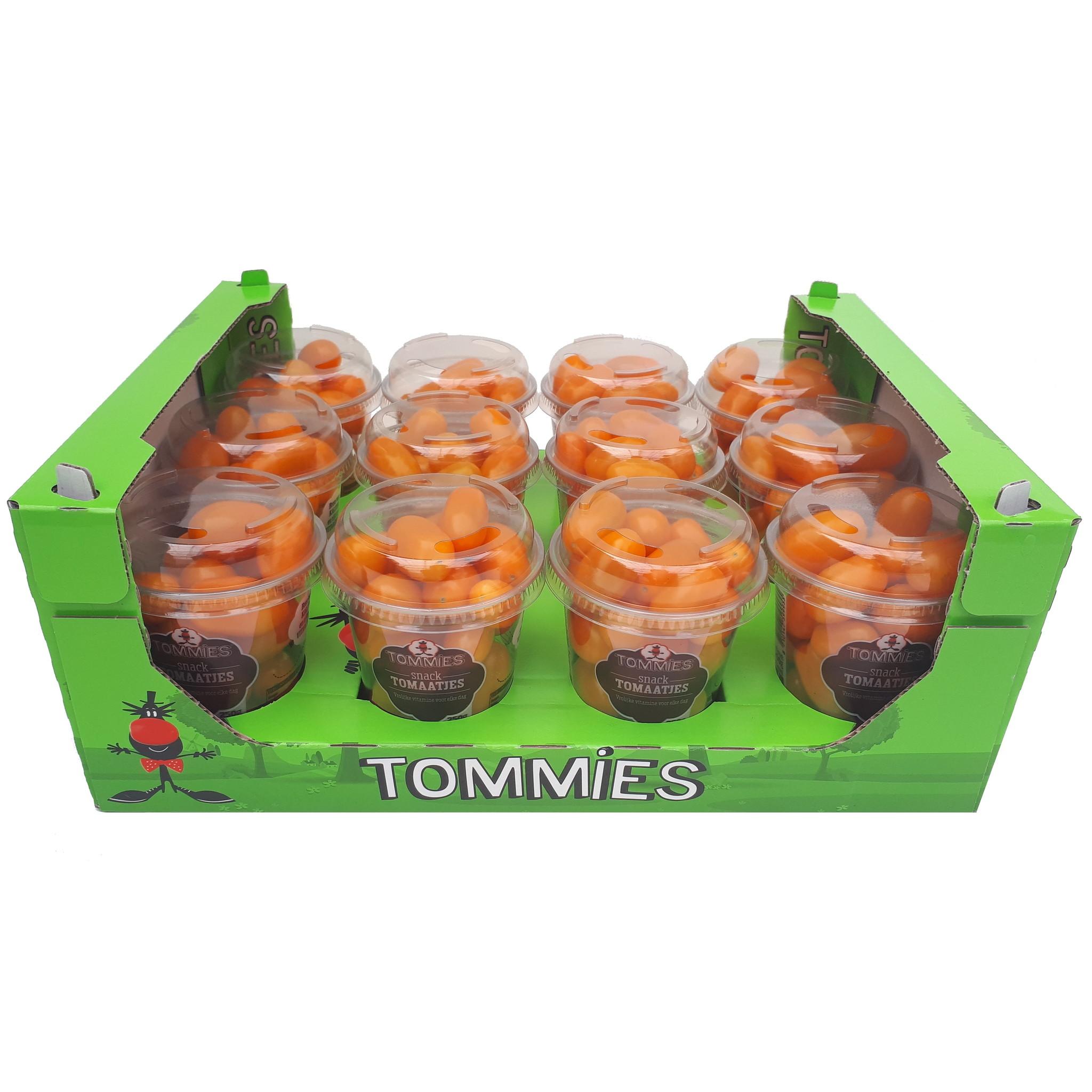 Tommies Snacktomaatjes oranje 12 bekers a 250 gram