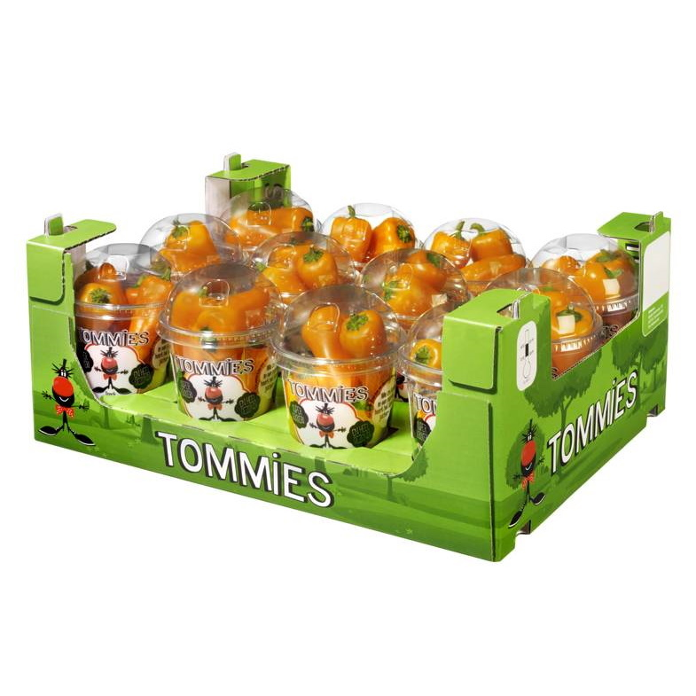 Tommies Snackpaprika's  12 bekers à 150 gr
