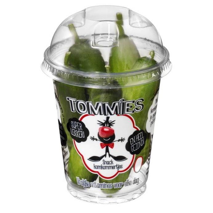 Tommies Snackkomkommers 12 bekers à 150 gr