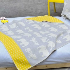 David Fussenegger David Fussenegger Juwel Decke Kapuze Elefant grau/gelb