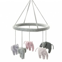 Smallstuff Smallstuff Mobile Elefant rosa/grau gestrickt